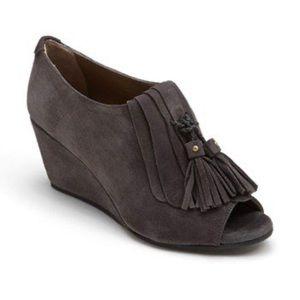 Anyi Lu 38 Jessie gray suede tassel wedge peep toe